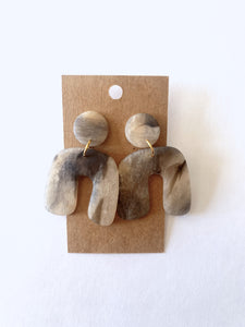 Translucent Marbled Arch Clay Earrings