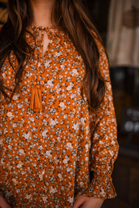 Rust Floral Long Sleeve Top 2876