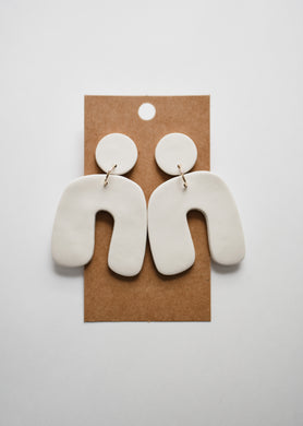 The Nova Clay Earrings in Ivory