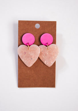 Opal Heart Clay Earrings