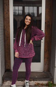 Dark Plum Mineral Wash Leggings 2949