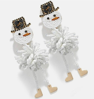 Snowman Beaded Dangle Earring