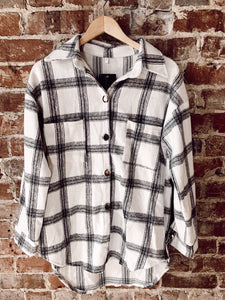Ivory & Black Flannel Shacket 3004