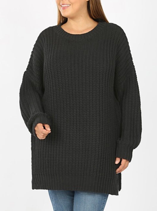 Black Round Neck Sweater 2954