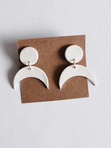 Mini Crescent Clay Earring in White