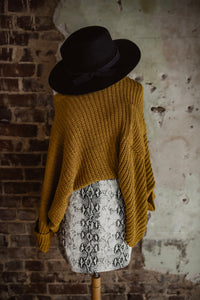 Mustard Oversized Chenille Pocket Sweater 2313