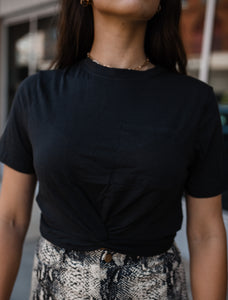 On The Go Cropped Pocket Tee in Black 2706