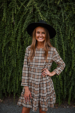Brown Plaid Ruffle Dress 2779