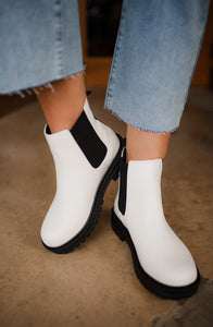 White Chunky Slip Booties 2784