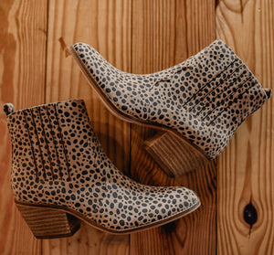 Almond Faux Suede Cheetah Booties 2357