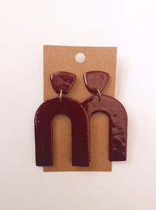 Arch Clay Earrings in Cranberry