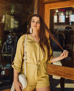 Mustard/Lime Linen Button Down Romper 2083