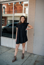 Black Short Sleeve Ruffle Dress 2885