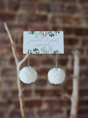 Ivory Pom Pom Earrings