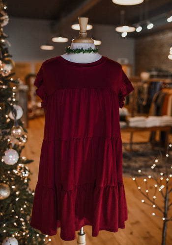 Wine Ruffle Dress 2347