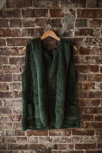 Army Green Hooded Fur Vest 2371