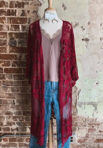 Wine Lace Duster 2224