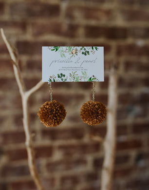 Caramel Pom Pom Earrings