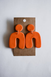 Orange Arch Clay Earrings