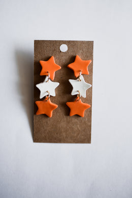 Orange & White Dangle Star Clay Earrings