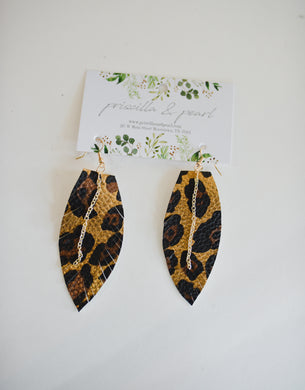 Leopard Single Leather Feather Earrings