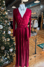 Red Pleated Belted Maxi Dress 2423