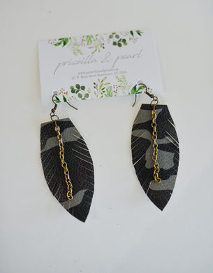 Camo Single Leather Feather Earrings