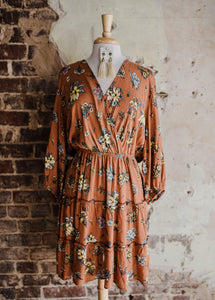 Rust Floral Dress 2443