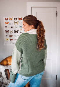 Olive Color Block Sweater 2966
