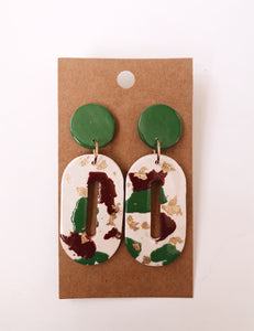 O-Shaped Clay Earrings in Christmas Terrazzo