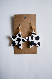 Cow Print Star Clay Earrings