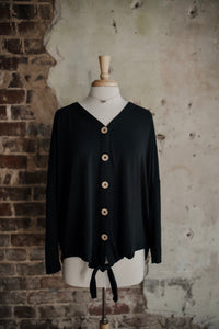 Black Long Sleeve Knot Top 2285
