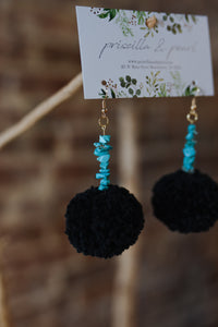 Black Pom Pom Earrings with Turquoise Beading