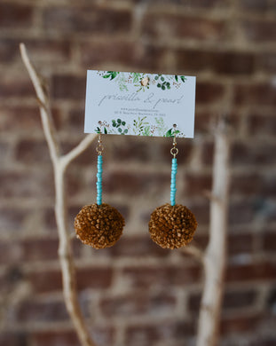Caramel Pom Pom Earrings with Turquoise Beading