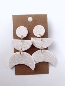 Ivory Textured Crescent Moon Clay Earrings