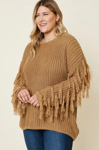 Mocha Fringe Sleeve Sweater 2859