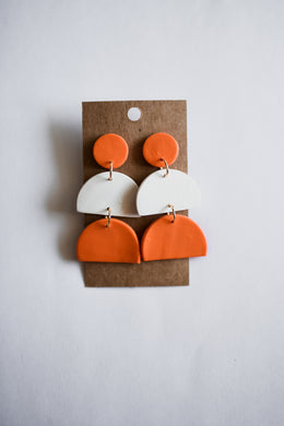 Orange & White Dangle Clay Earrings