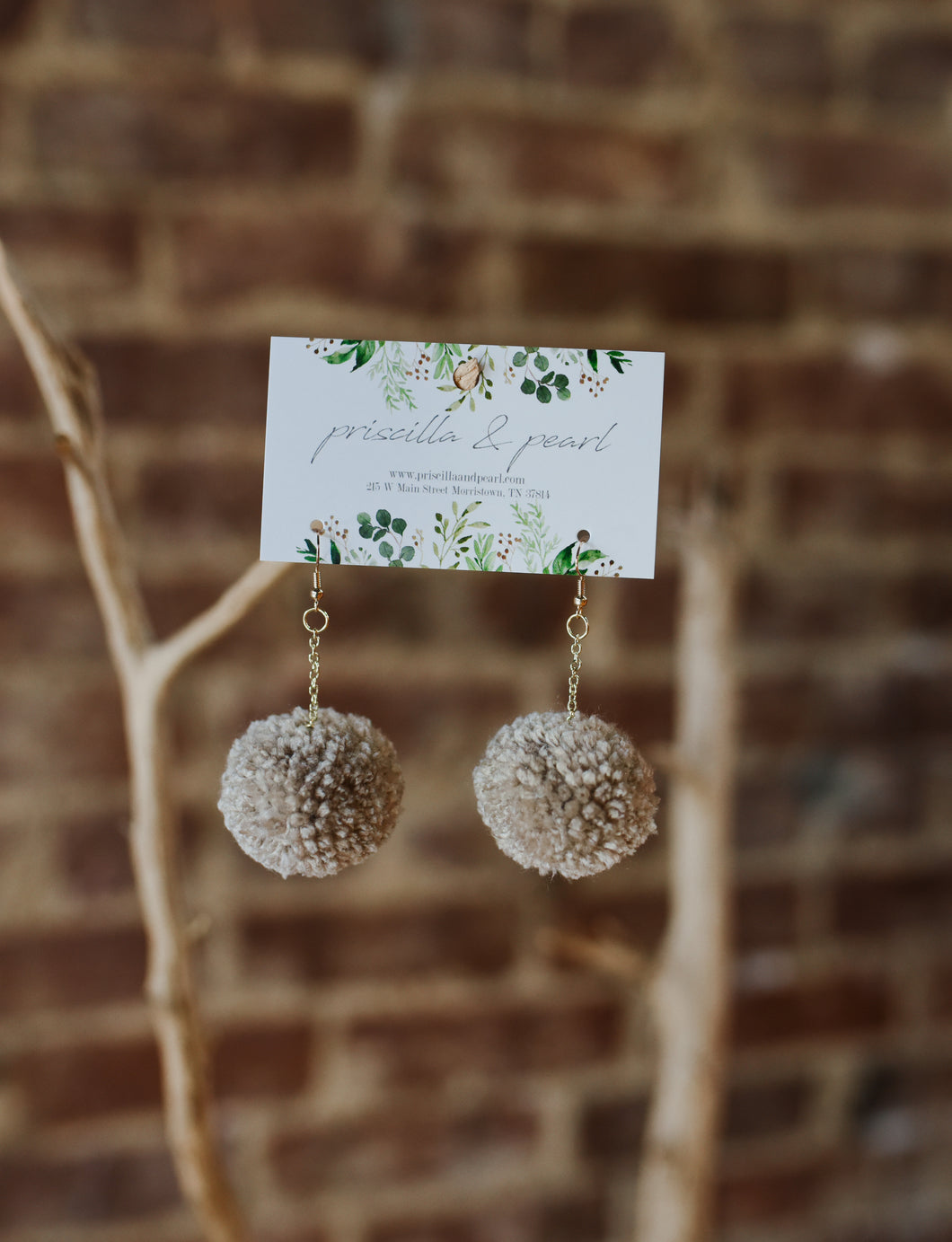 Taupe Pom Pom Earrings
