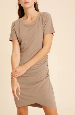 Mocha Short Sleeve Ruched Dress 2890