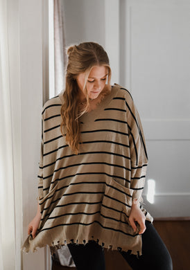 Taupe Striped Pocket Sweater 2891