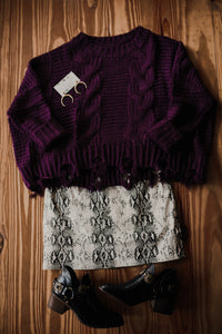 Plum Cable Knit Sweater 2302