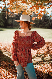 Smocked Floral Top in Burgundy 2902