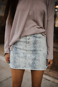 Grey Python Denim Skirt 2715
