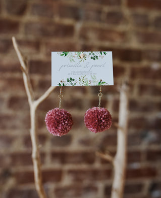Rose Pom Pom Earrings