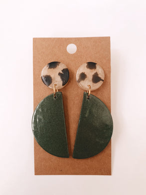 Half Circle & Cow Print Clay Earrings