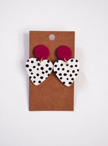 Polka Dot Heart Clay Earrings