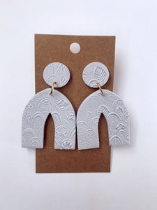 Grey Textured Pointed Arch Clay Earrings