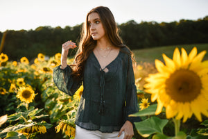 Teal Textured Chiffon Top with Cami 2853