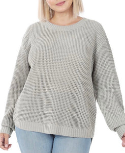 Light Grey Hi-Lo Waffle Knit Sweater 2961