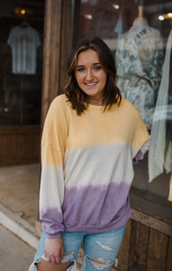 Sunset Walks Tie Dye Pullover in Purple/Yellow 2673